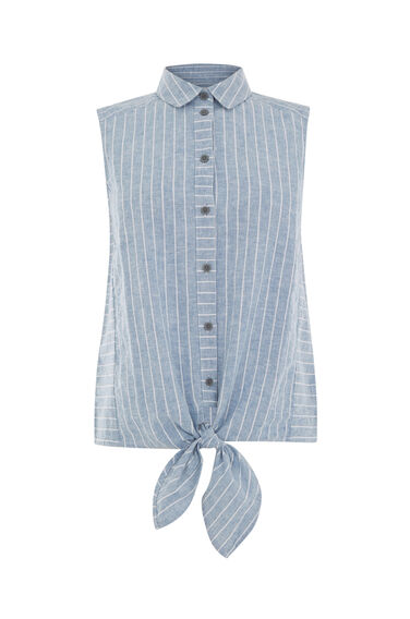 Warehouse, LINEN MIX STRIPE SHIRT Blue Stripe 0
