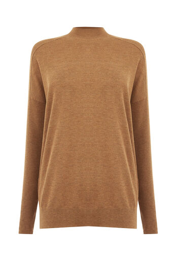 Warehouse, BOXY FUNNEL NECK JUMPER Mustard 0