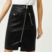 Warehouse, Biker Zip Skirt Black 4