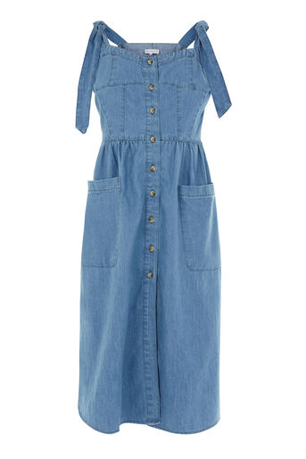 Warehouse, Tie Strap Pocket Dress Light Wash Denim 0