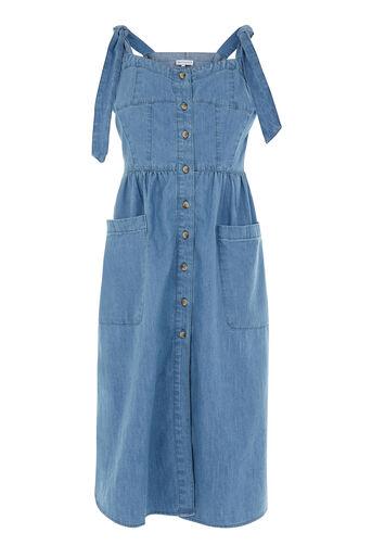 Warehouse, Tie Strap Pocket Dress Light Wash Denim 0