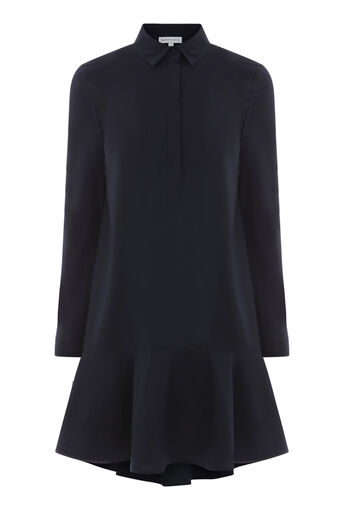 Warehouse, PEPLUM COTTON SHIRT DRESS Navy 0