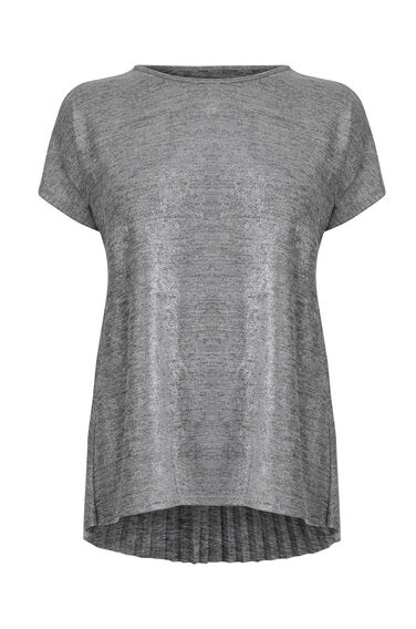 Warehouse, METALLIC PLEAT BACK TOP Silver Colour 0