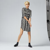 Warehouse, TORN STRIPE SHIRT DRESS Black Stripe 2