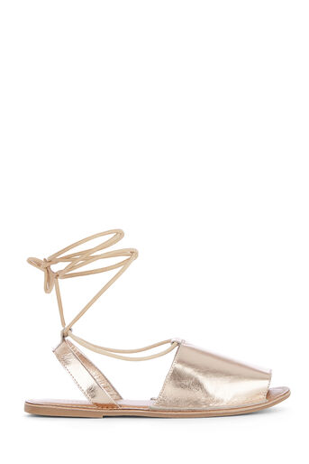 Warehouse, LACE UP 2 PART SANDAL Gold Colour 0