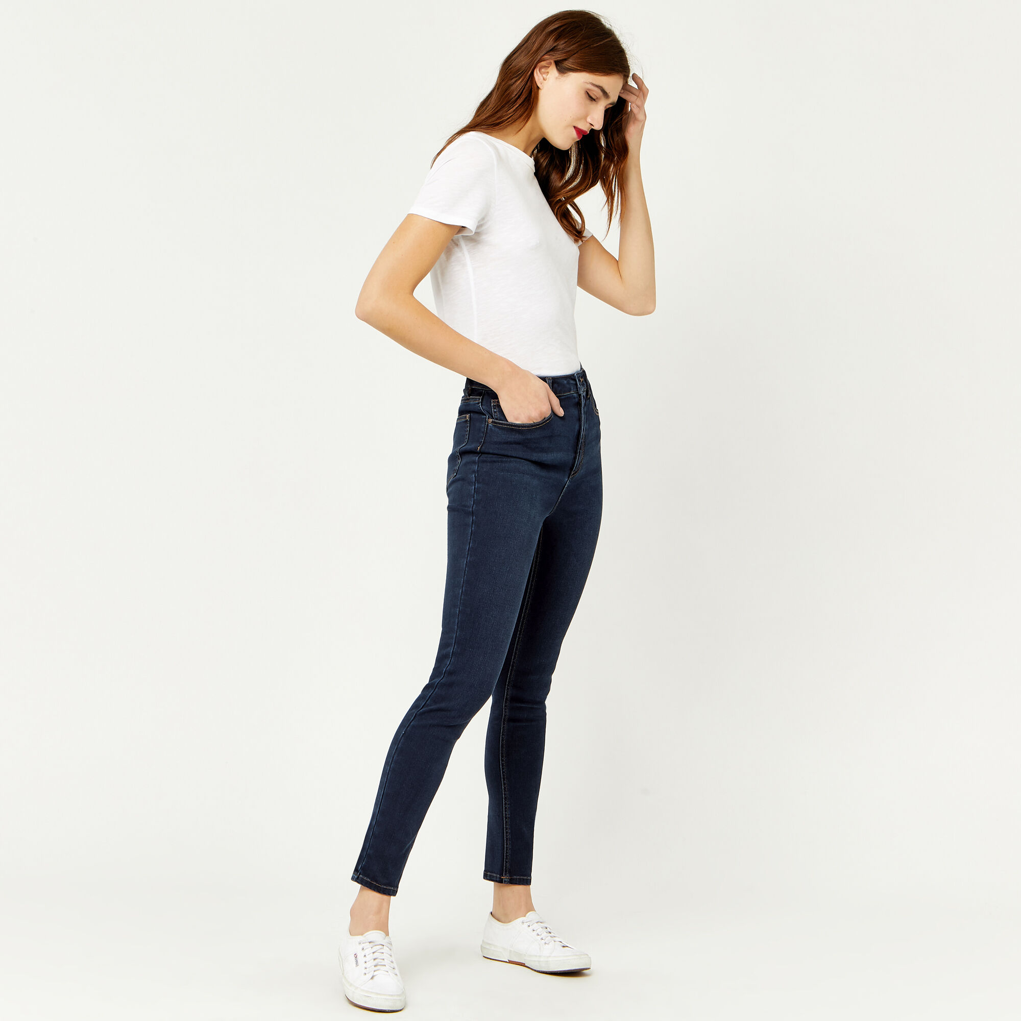Warehouse, POWERHOLD HIGH RISE SKINNY CUT Indigo Denim 1