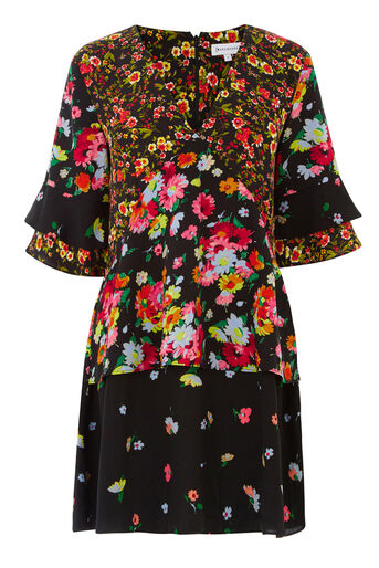 Warehouse, SIDNEY FLORAL TIERED DRESS Black Pattern 0