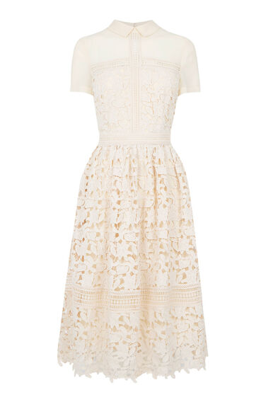 Warehouse, Lace Shirt Dress Cream 0