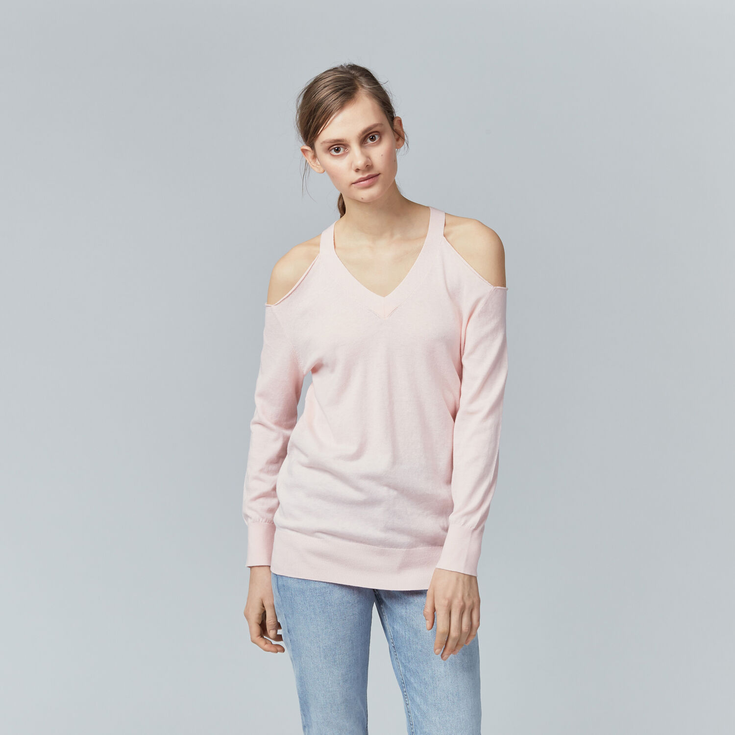 Warehouse, COLD SHOULDER V NECK JUMPER Light Pink 1