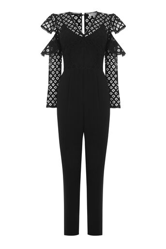 Warehouse, GEO LACE JUMPSUIT Black 0