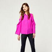 Warehouse, OPEN COLD SHOULDER SHIRT Bright Pink 2