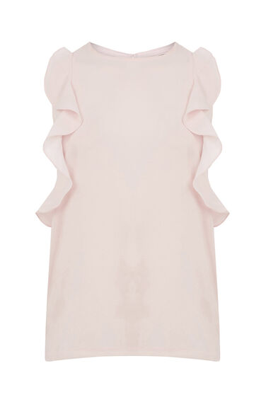 Warehouse, WOVEN FRONT RUFFLE TOP Light Pink 0
