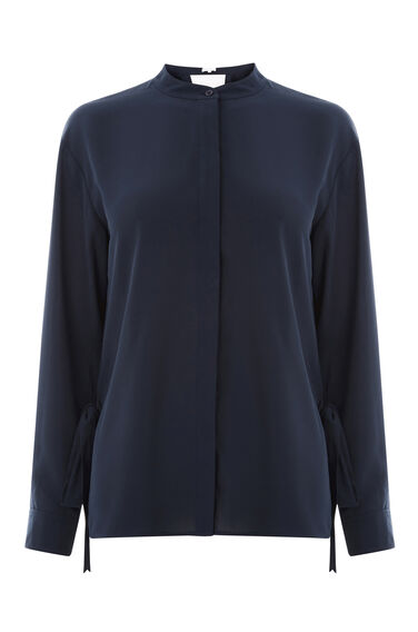 Warehouse, WRAP TIE BACK BLOUSE Navy 0