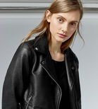 Warehouse, Faux Leather Crop Biker Jacket Black 4
