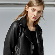 Warehouse, Faux Leather Crop Biker Jacket Black 4