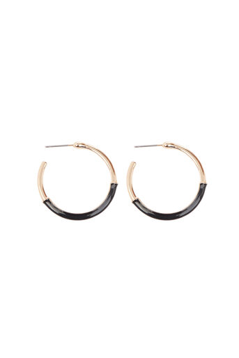 Warehouse, DOUBLE COLOUR HOOP EARRINGS Gold Colour 0