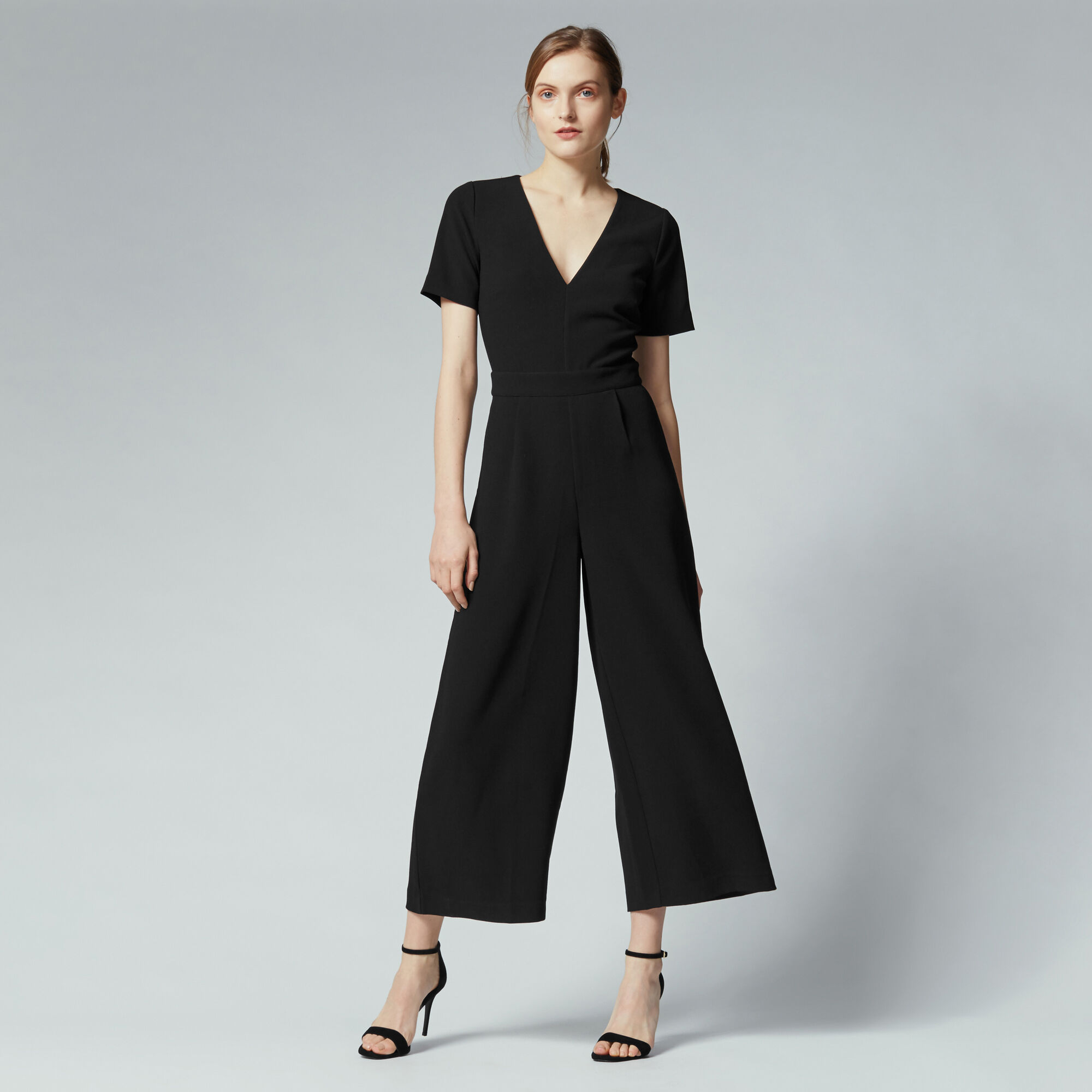 Warehouse, V Neck Jumpsuit Black 1