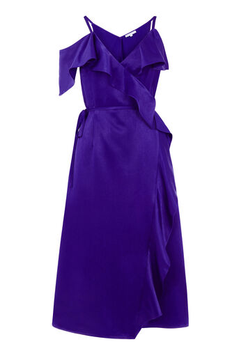 Warehouse, FRILL MIDI DRESS Bright Purple 0