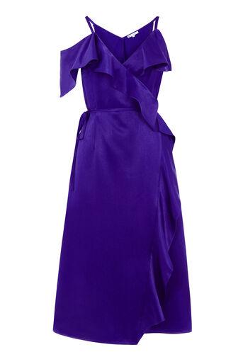 Warehouse, FRILL MIDI DRESS Bright Purple 0
