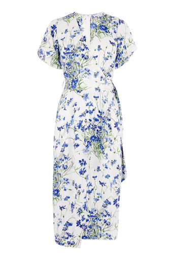 Warehouse, FULL BLOOM WRAP DRESS Cream 0