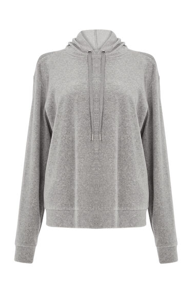 Warehouse, VELOUR HOODY Light Grey 0