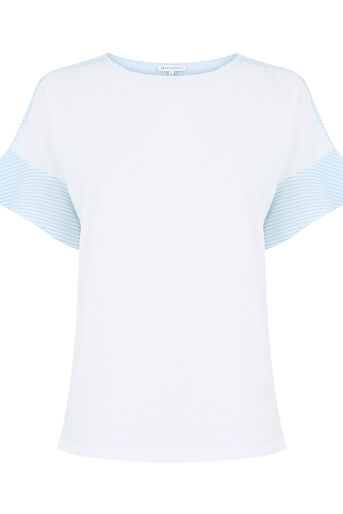 Warehouse, POPLIN MIX FRILL SLEEVE TEE White 0
