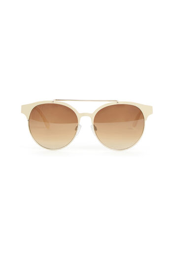 Warehouse, Metal Framed Sunglasses Cream 0
