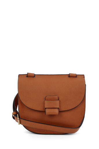 Warehouse, STITCH TAB SADDLE BAG Tan 0