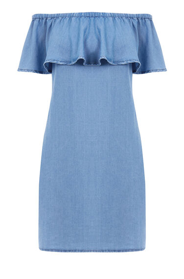 Warehouse, Off Shoulder Denim Dress Light Wash Denim 0