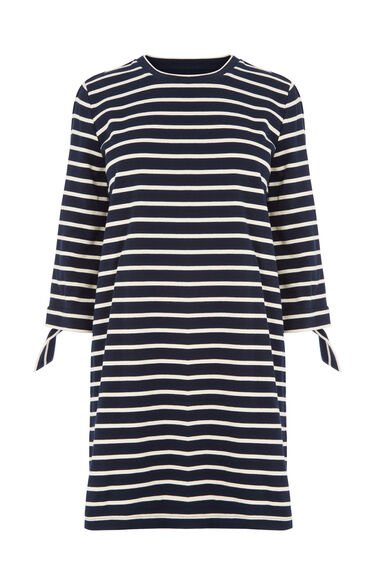 Warehouse, TIE CUFF STRIPE DRESS Blue Stripe 0