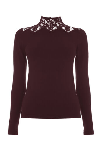 Warehouse, LACE HIGH NECK JUMPER Berry 0