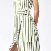 Warehouse, STRIPE WRAP DRESS Green Stripe 4