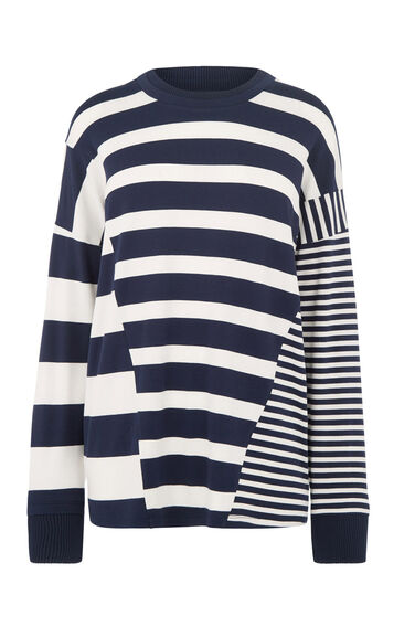 Warehouse, RIB DETAIL MIX STRIPE TOP Blue Stripe 0
