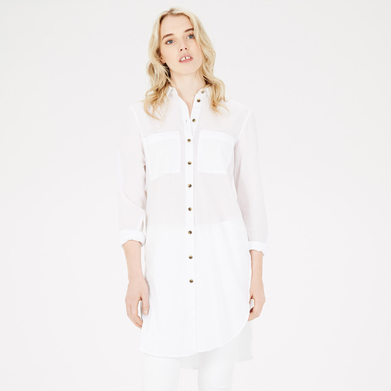 Warehouse, Longline Voile Shirt White 1