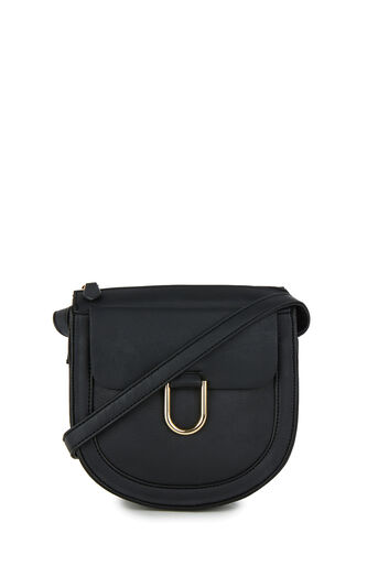 Warehouse, SMALL D RING SADDLE CROSSBODY Black 0