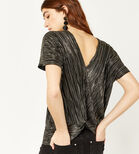 Warehouse, TWO WAY PLISSE KNOT FRONT TOP Gold Colour 4