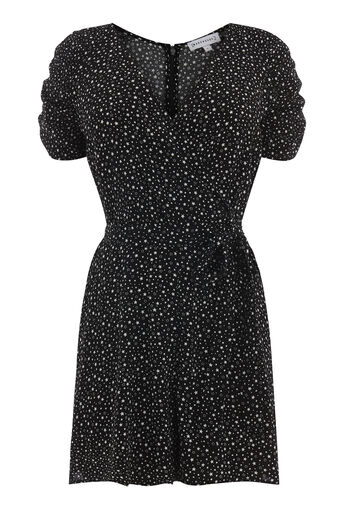 Warehouse, DITSY STAR PLAYSUIT Black Pattern 0