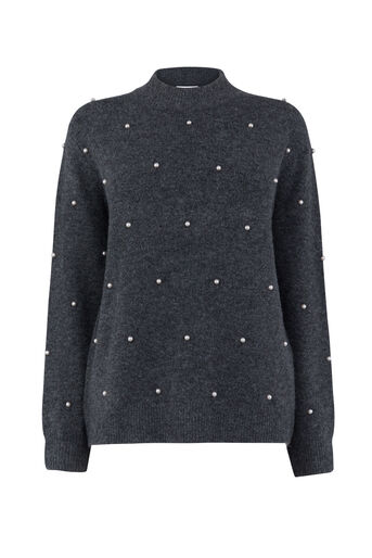 Warehouse, PEARL DETAIL JUMPER Dark Grey 0