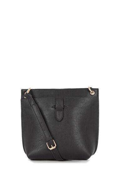 Warehouse, DOUBLE TAB CROSSBODY BAG Black 0