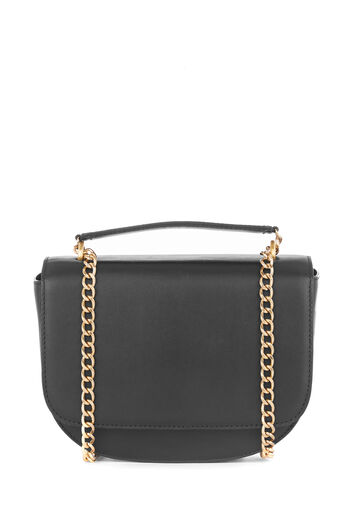 Warehouse, CHAIN DETAIL LEATHER SADDLEBAG Black 0