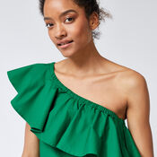 Warehouse, COTTON RUFFLE ONE SHOULDER TOP Bright Green 4