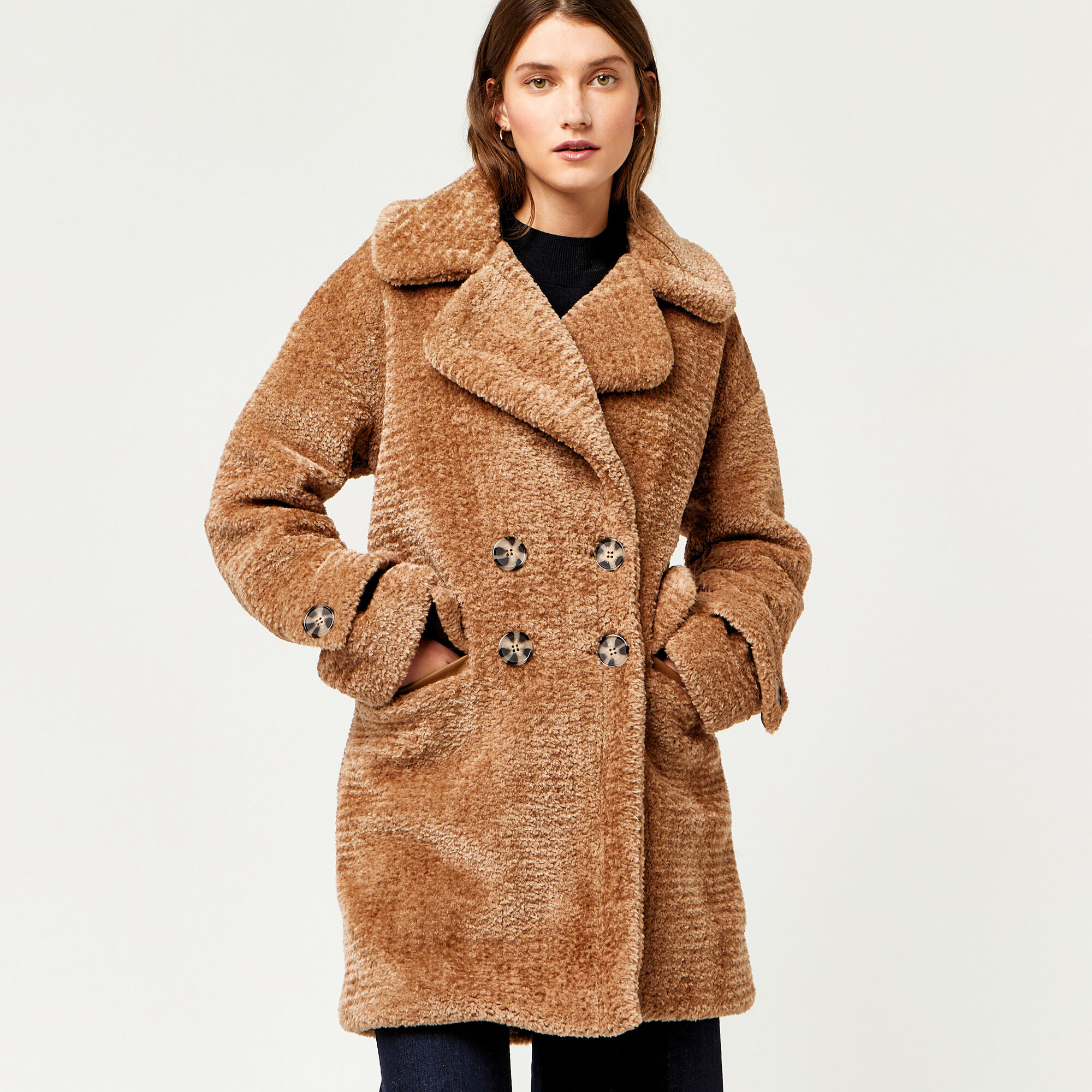 Warehouse, OVERSIZED TEDDY COAT Brown 1