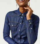 Warehouse, WESTERN SHIRT DRESS Dark Wash Denim 4