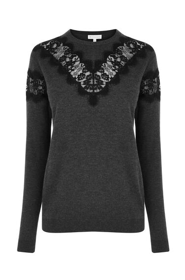 Warehouse, LACE INSERT CREW JUMPER Dark Grey 0