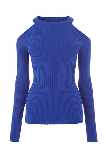 Warehouse, RIBBED COLD SHOULDER JUMPER Bright Blue 0