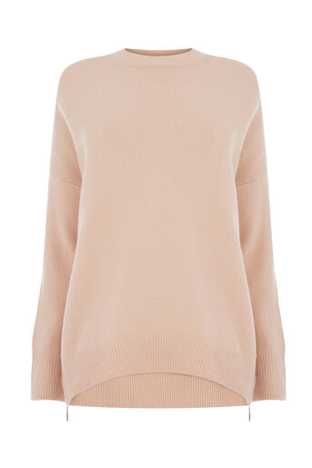 Warehouse, SOFT ZIP SIDE JUMPER Light Pink 0