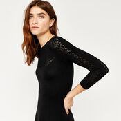 Warehouse, PRETTY STITCH YOKE KNIT DRESS Black 4