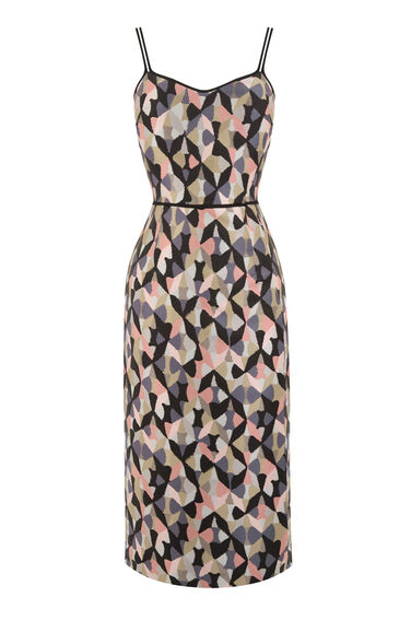 Warehouse, DIAMOND IKAT STRAPPY DRESS Pink Pattern 0