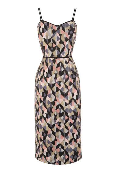 Warehouse, DIAMOND IKAT STRAPPY DRESS Pink Pattern 0