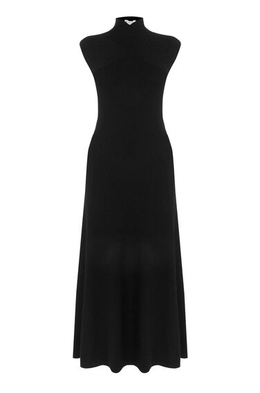 Warehouse, WRAP NECK MAXI DRESS Black 0